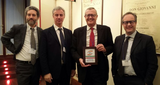 "From the left side: Andreas Biondi (Italian Private Market Director), Emanuele Vitale (""LeonarDo Research & Innovation"" Project Manager), Roberto Boggio (General Manager Central & South Europe) and Enrico Vivio (Italian Public Market Director)."